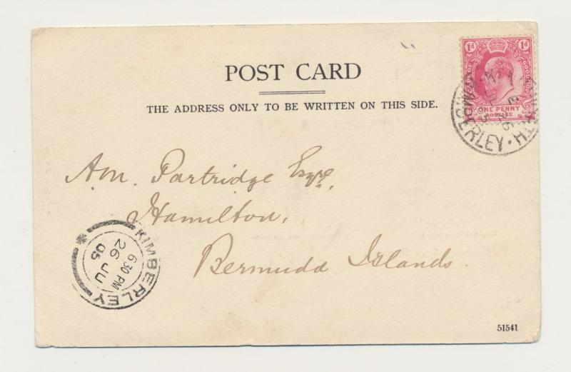 CAPE OF GOOD HOPE TO BERMUDA 1909 PPC, KIMBERLEY CDS 1d RATE(SEE BELOW)