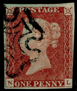 SG8, 1d red-brown PLATE 16, USED. Cat £70. BLACK MX. NL