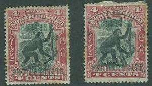 North Borneo SC#108 (SG#130a) Orangutan O'printed 4c MH & U