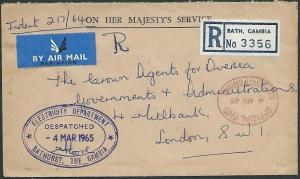 GAMBIA 1965 Official Paid registered airmail cover Bathurst to UK.........41100