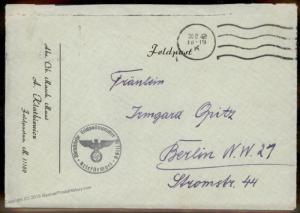 3rd Reich Germany 1942 Navy Minefield Guide Boat F6 Feldpost Cover 87833
