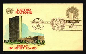 UN 1958 3c Postal Card FDC / Hand Colored Cachet - L3770