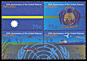 Nauru 418a, MNH, 50th anniversary of United Nations block of 4