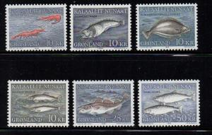 Greenland Sc 136-41 1981-6 Fish stamp set mint NH