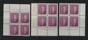 CANADA - #291 - 3c KING GEORGE VI PLATE #2 MINT BLOCKS (1950)