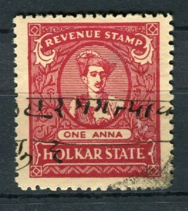 INDIA; HOLKAR Early 1900s fine used Revenue issue 1a. value