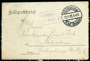 GERMANY WORLD WAR I VINTAGE FELDPOST CARD CANCELLED 11/22/15 7th INF DIVISION