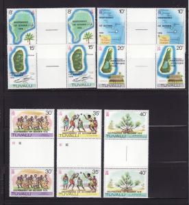 Tuvalu 85-91 Gutter Pairs Set MNH Independence (C)