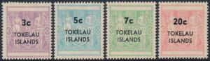 Tokelau Islands 1967 Post Fiscal New Zealand Surcharged Set of 4 SG12-15 MH