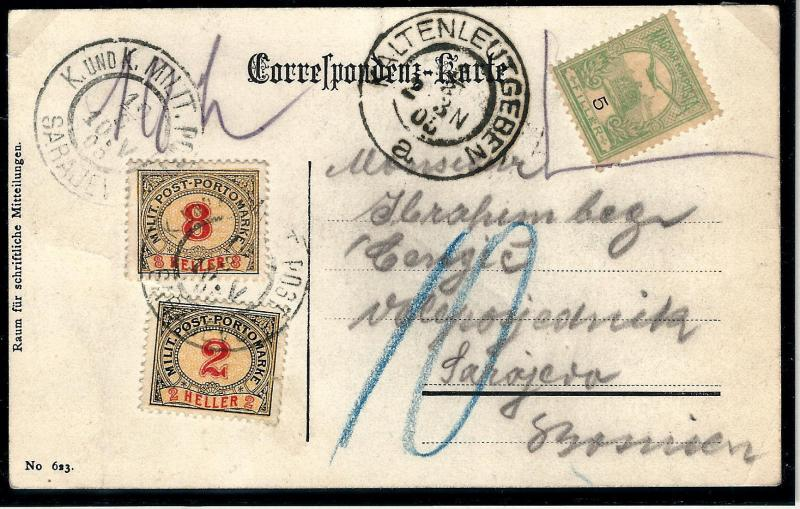 OLD AUSTRIA BOSNIA PORTO 1904. PORTO 2 + 8  heller on postcard