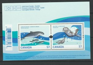 Canada 2010 Fauna Animals Marine Life joint issue Sweden MNH Block