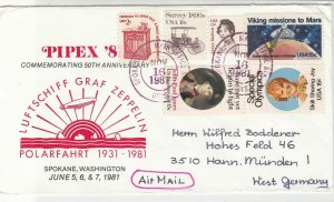 USA 1981 Pipex'81 Comm 50th Anniv. Zeppelin Pic Multiple Stamps Cover Ref 35084