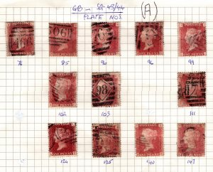 Great Britain 1858-79 Victoria Penny Reds (various Plate nos.) [Used]