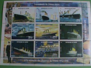 1998-GUINEA STAMP-R.M.S. TITANIC- MINT-NH FULL STAMP SHEET