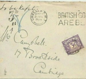 GB London Chelsea Unpaid Cover Postage Due 1926 {samwells-covers} CG42