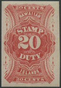 HAWAII #R9a XF-SUPERB OG NH GEM 20¢ STAMP DUTY CV $1,200 WLM386