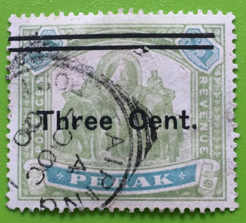 Malaya Perak 3c opt $1 Elephants 1910 Used SG#86 M3047