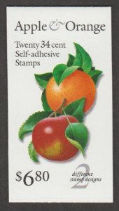 U.S. Scott #3492b-3492c-3492d BK284A Apple & Orange Stamp - Mint NH Booklet