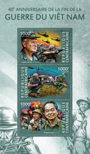 Central African Rep Military Stamps 2015 MNH Vietnam War Helicopters 3v M/S