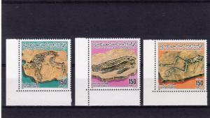 Libya 1985 Sc#1245/1247 FOSSILS (Frog-Fish-Mammal) Set (3) MNH