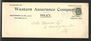 1898 CDS  ALEX MUNRO Cover  City of Victoria  1c numeral queen
