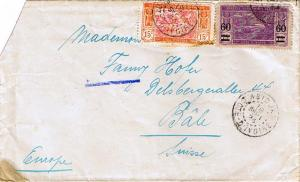 Ivory Coast 15c River Scene and 75c River Scene Overprinted 60 1924 Abidjan, ...