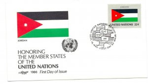 United Nations #483 Flag Series 1986, Jordan, Artmaster FDC