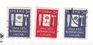Sweden Sc 610-2 1962 Municipal Reform Laws stamps used