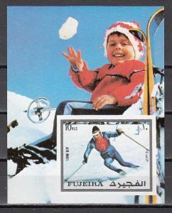 Fujeira, Mi cat. 1343, BL136 B. Olympic Skier, IMPERF s/sheet.