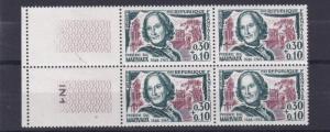 FRANCE  1963    S G  1599   30C  + 10     VALUE  BLOCK OF 4  MNH  NO F71