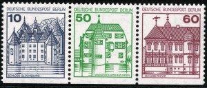 GERMAN BERLIN 1977-87 CASTLES 3-SIDES MINT(NH) SGB516a-B520ba-B521ab P.14 SUPERB