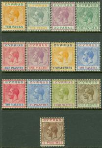 EDW1949SELL : CYPRUS 1921-23 Scott #72-84 Complete. Very Fine, Mint OG Cat $242.