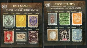 GRENADA 2016 FIRST STAMPS OF THE UNITED NATIONS MEMBER STATES SET OF 8   SHEETS