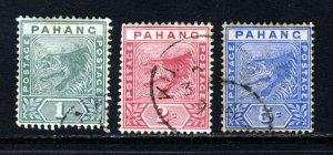 PAHANG MALAYSIA QV 1891-1895 The Complete Tiger Set SG 11 to SG 13 VFU