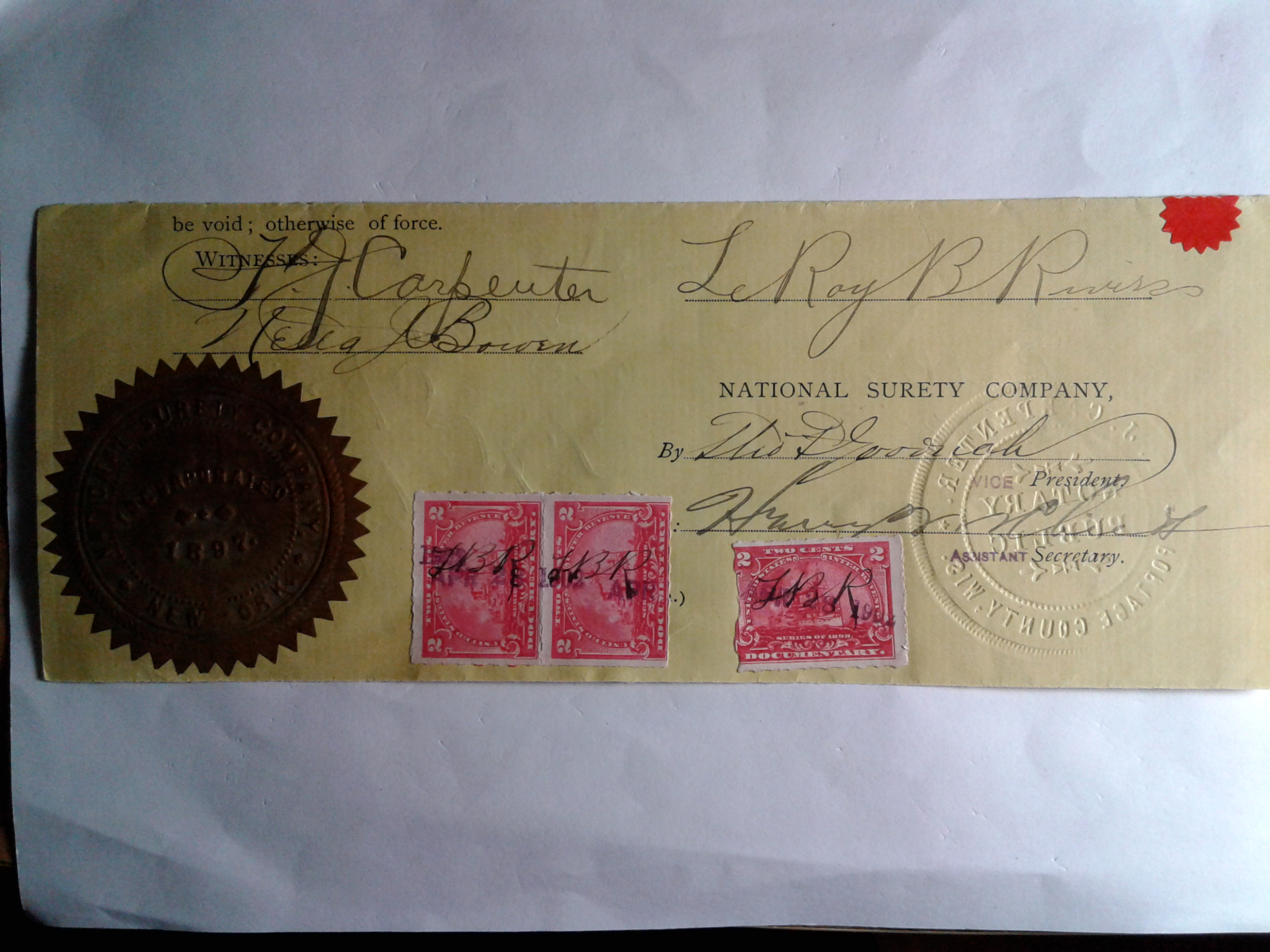 SCOTT # R164 1897 DOCUMENTARY WITH INCREDIBLE BANK AND NOTARY SEAL