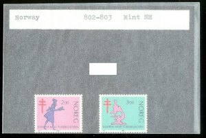 NORWAY Sc#802-803 MINT NEVER HINGED Complete Set