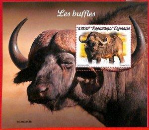A3285 - TOGO, ERROR MISPERF, Souvenir sheet: 2019, Buffalos, Fauna