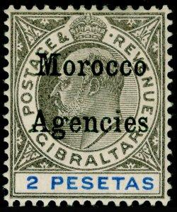 MOROCCO AGENCIES SG23, 2p black & blue, M MINT. Cat £50.