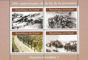 Chad - 2019 100th Anniversary End of World War I - 4 Stamp Sheet - 3B-727