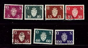 Norway O58-64 Used 1951-52 set