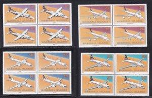 Marshall Islands 407-410, MNH, 4 Blocks of 4 - Aircraft