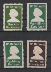Germany- Lot of 4 Dr. Oetker Baking Products Advertising Stamps - NG