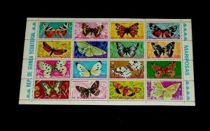 TOPICAL, BUTTERFLIES, 1975, EQUATORIAL GUINEA, SHEET/16, MNH, LOT #63, LQQK