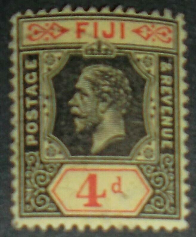Fiji Scott #85 1914 GEORGE V 4P BLACK & RED ON YELLOW Free US Shipping