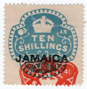 (I.B) Jamaica Revenue : Duty Stamp 10/- (die AN)