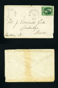 # 147 on cover from Winchendon, MA to Cambridge, Massachusetts dated 6-16-1871