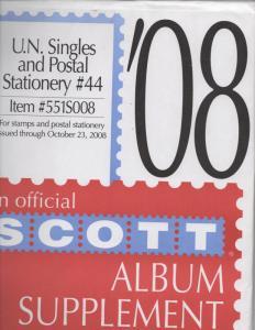 United Nations  New York,  Geneva  &  Vienna  2008   Scott  supplement number 44