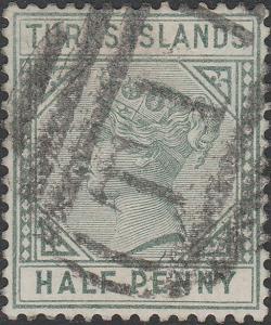 TURKS Islands - 1893 - SG70 1/2d green die II Wmk Crown CA, p.14 - used