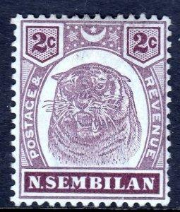 MALAYA (NEGRI SEMBILAN) — SCOTT 6 (SG 6) — 1898 2c TIGER — MH — SCV $42
