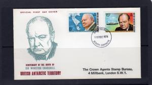 British Antartic 1974 #62/63 Winston Churchill Centenary Set (2) Official F.D.C.